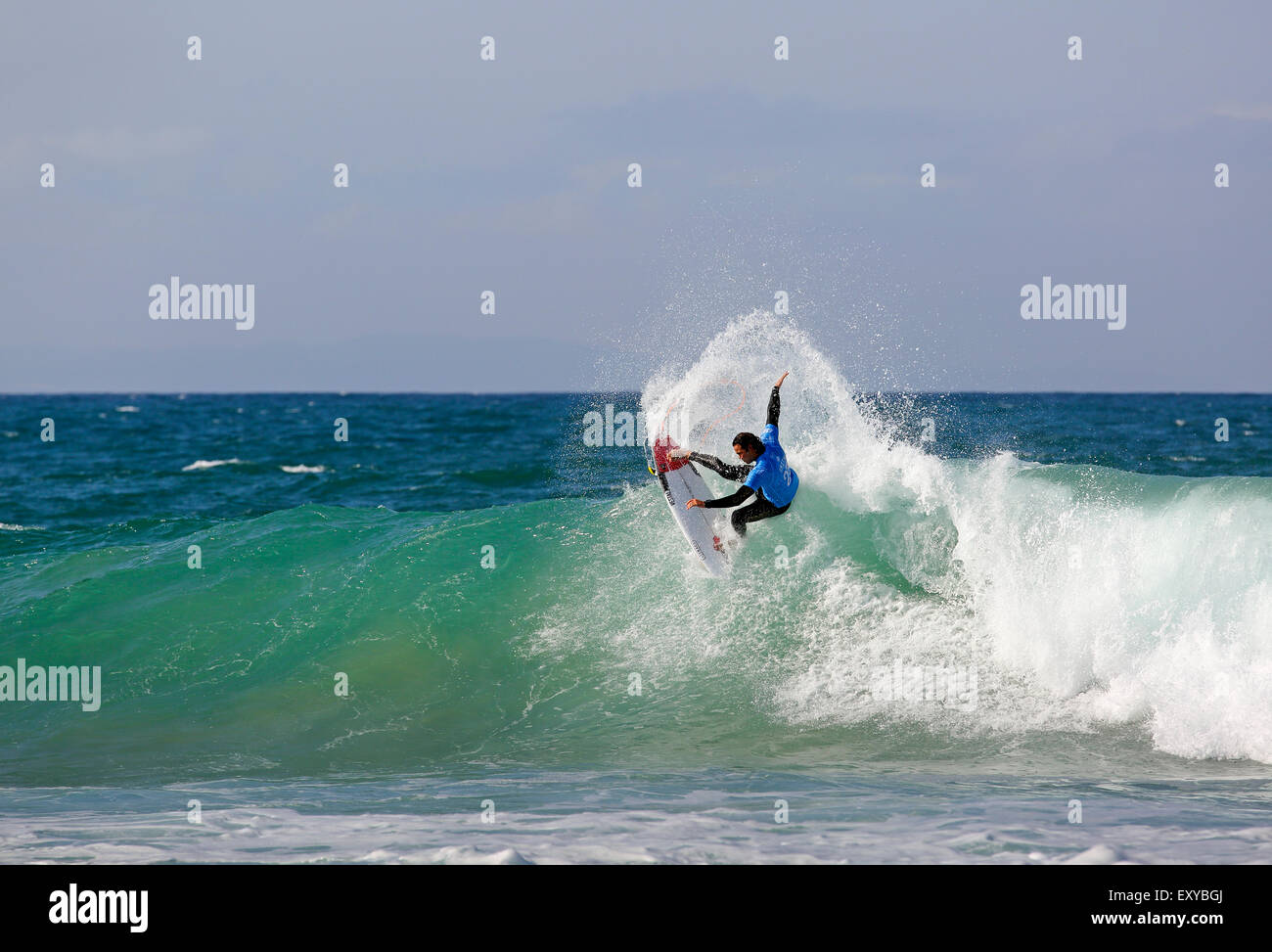South African professional surfer Jordy Smith in action at the 2015 J-Bay Open surfing event in Jeffreys Bay, South - Stock Image