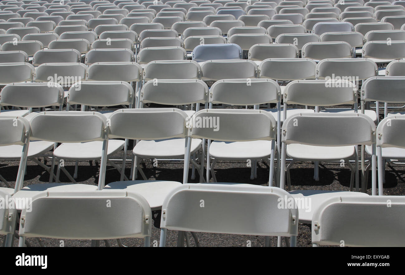 Rows Of White Empty Folding Chairs At A Concert Wedding Festival Or Stock Photo Alamy