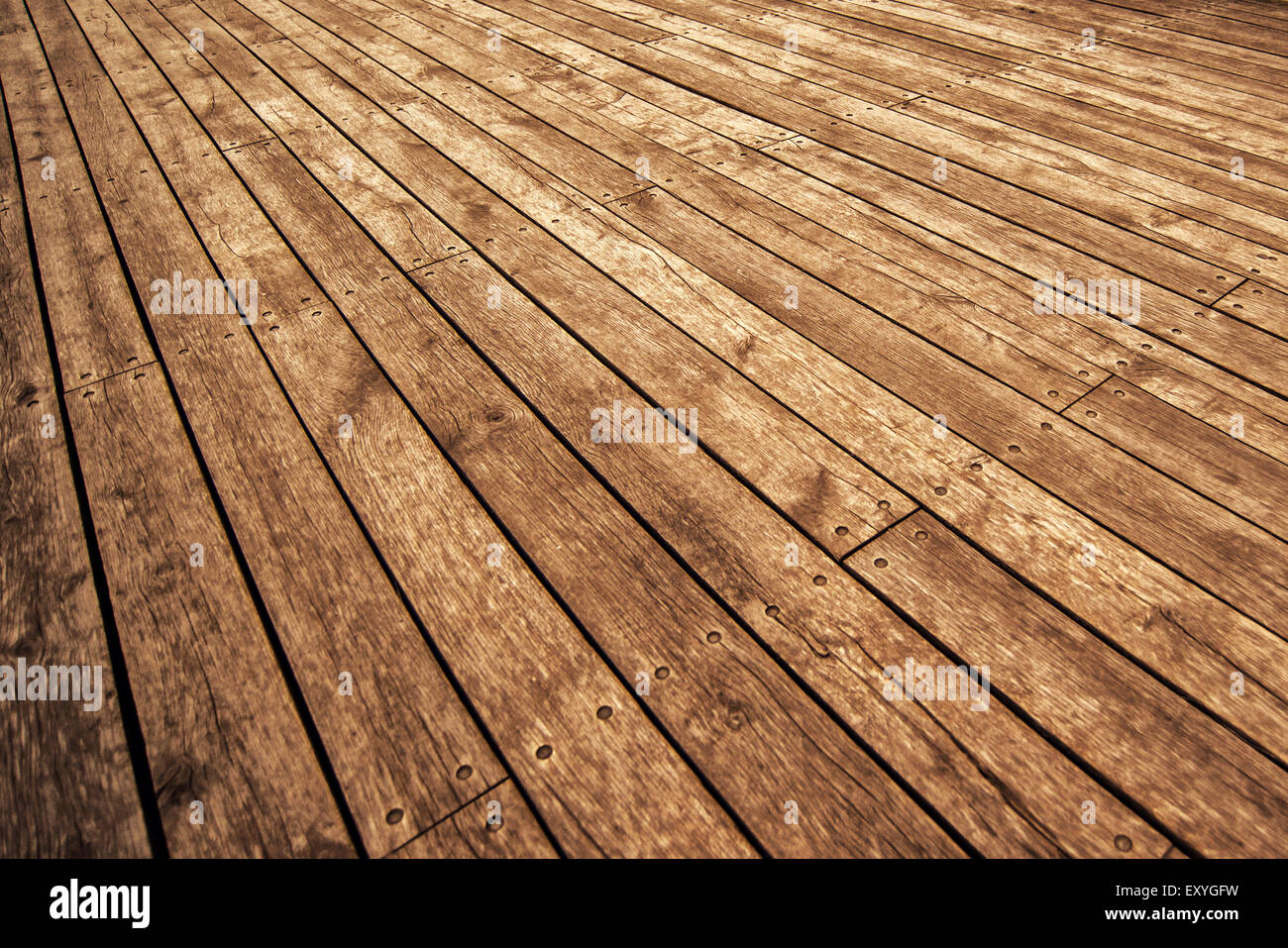 Rustic Wooden Floor Board Texture in Perspective as Background for Product Placement, Warm Tone - Stock Image