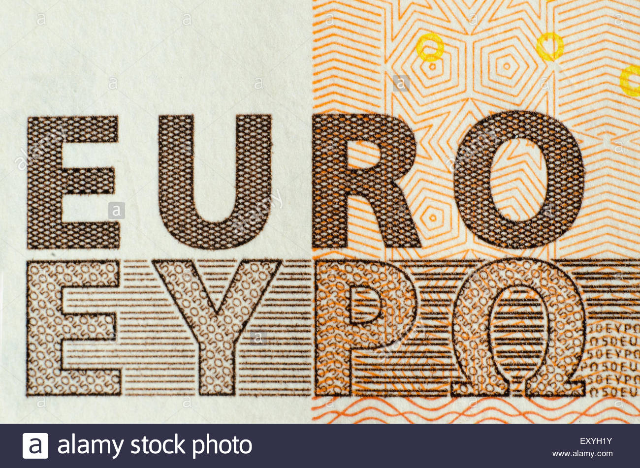 Euro Word International And Greek Symbols In An 50 Euro Banknote