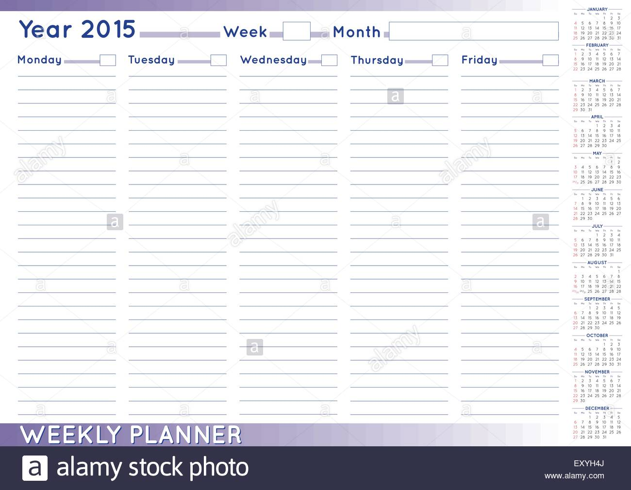 2015 weekly planner or scheduler with a 2015 calendar size a 3 you can put day and week numbers and month names at your own