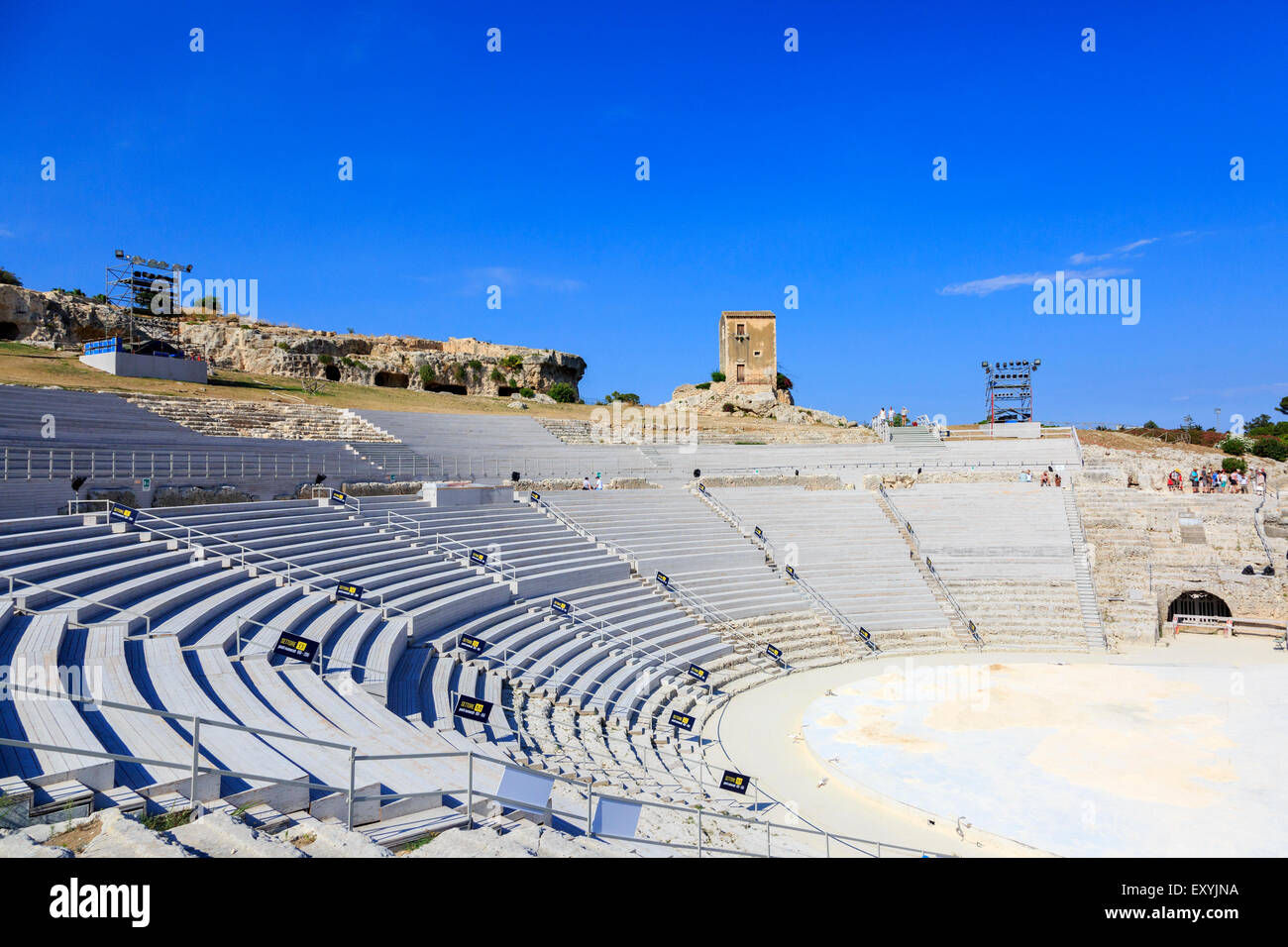 6th Century BC Greek amphitheatre in Latomia del Paradiso, Neapolis District, Syracuse, Sicily, Italy. - Stock Image