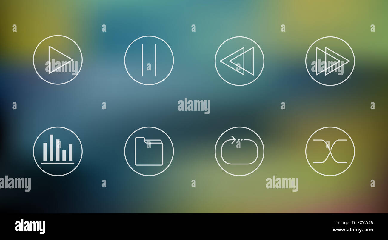 Vector set of music player icons on abstract mesh background