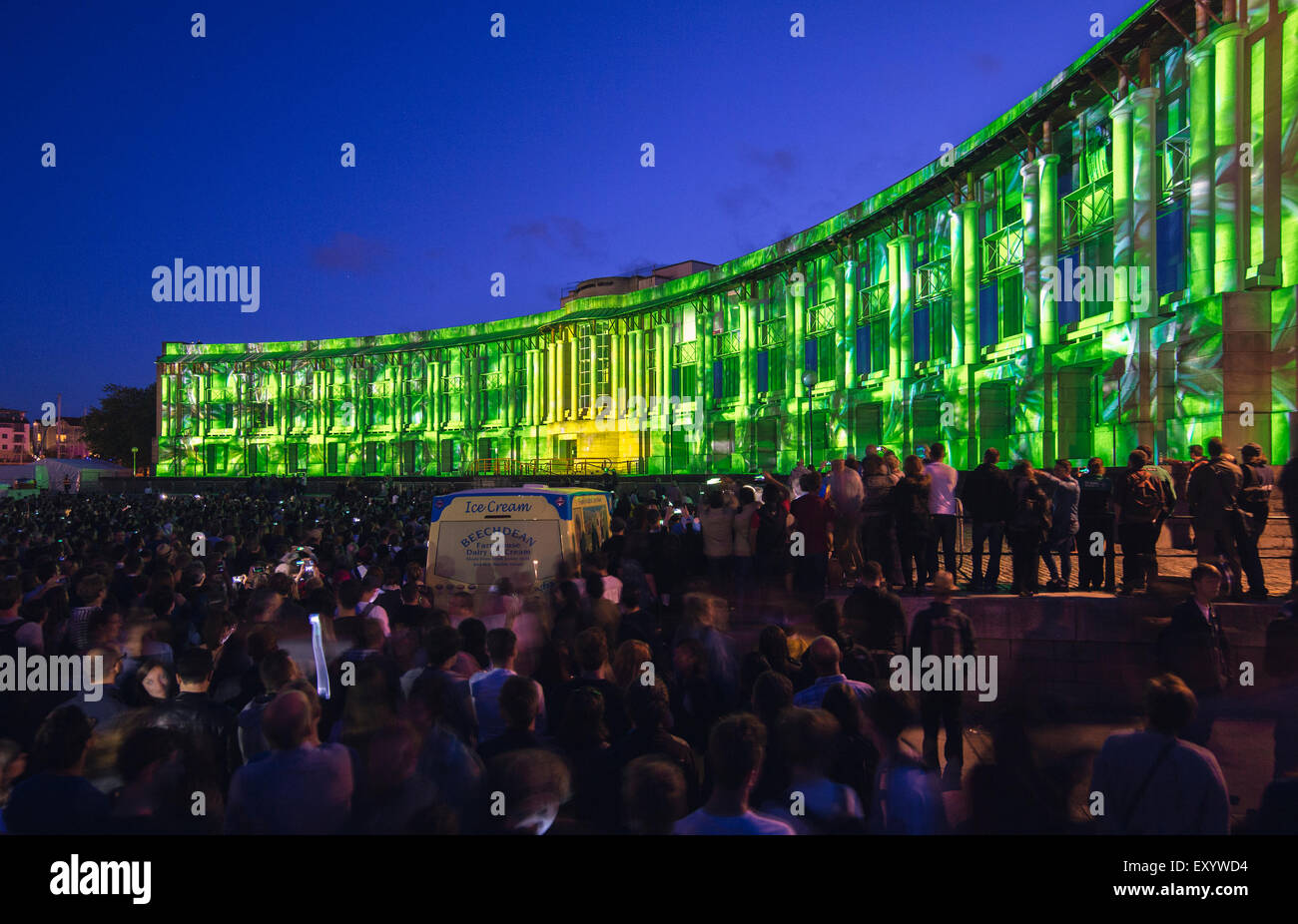 Bristol Harbour Festival multimedia show: projection Mapping on the Lloyds Building and pyrotechnics for European - Stock Image