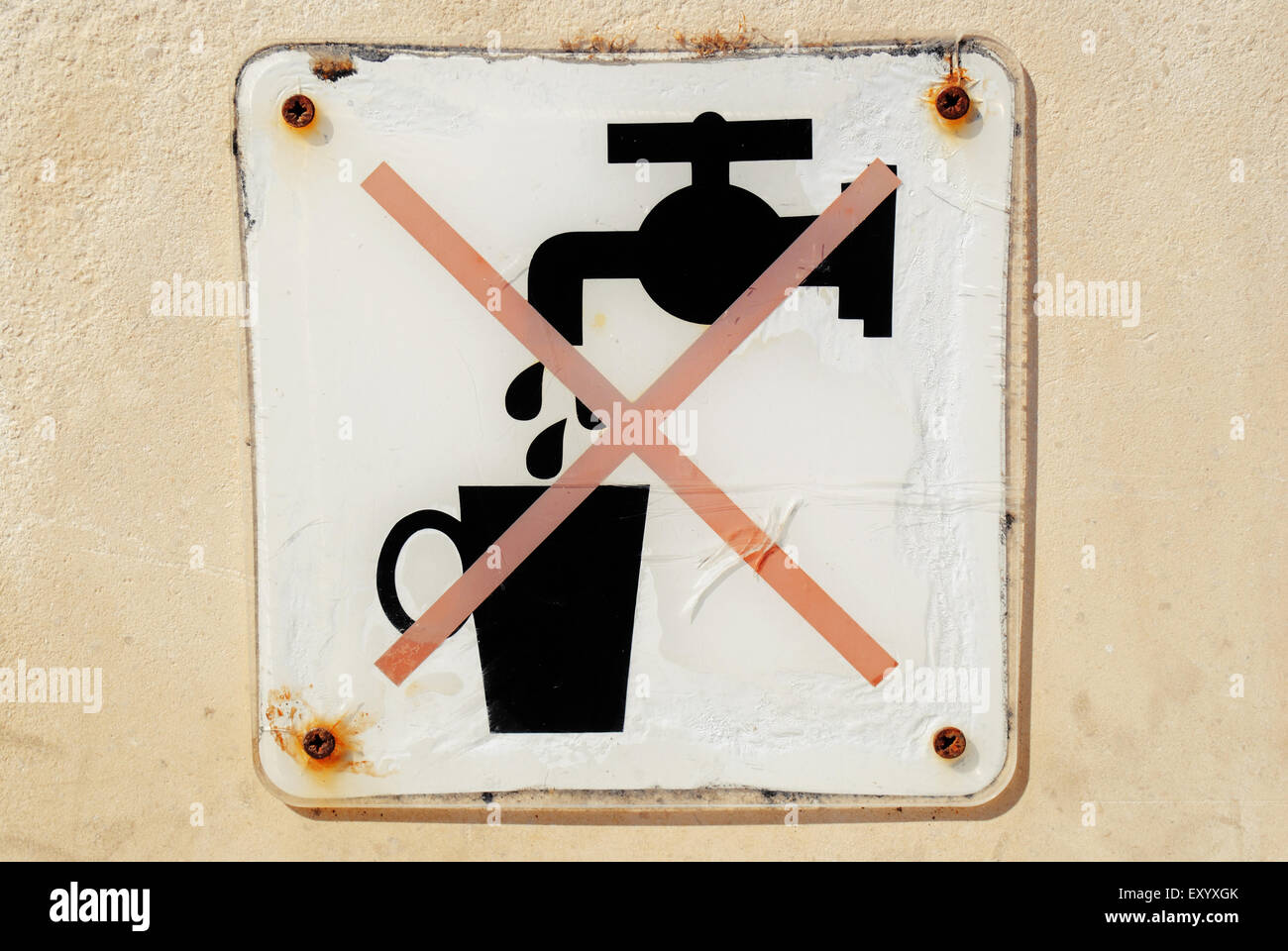 A 'not drinking water' sign. - Stock Image