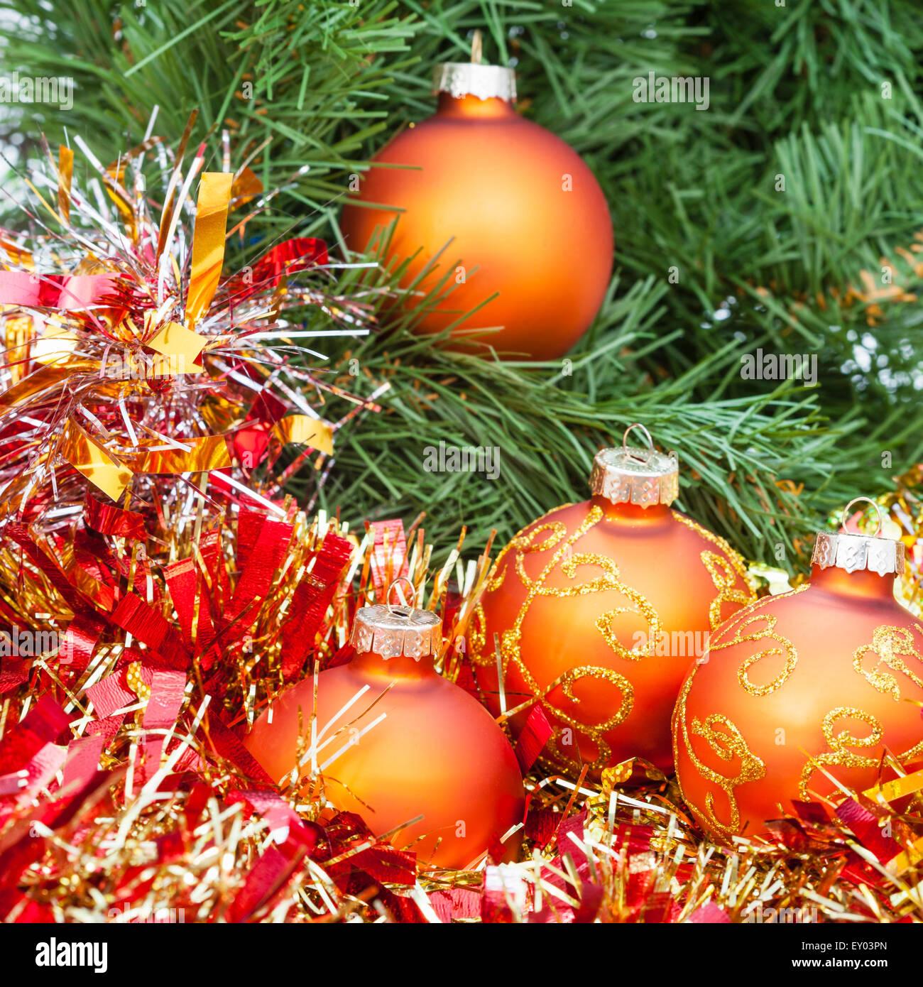Christmas Still Life Four Orange And Yellow Christmas Balls Red Stock Photo Alamy