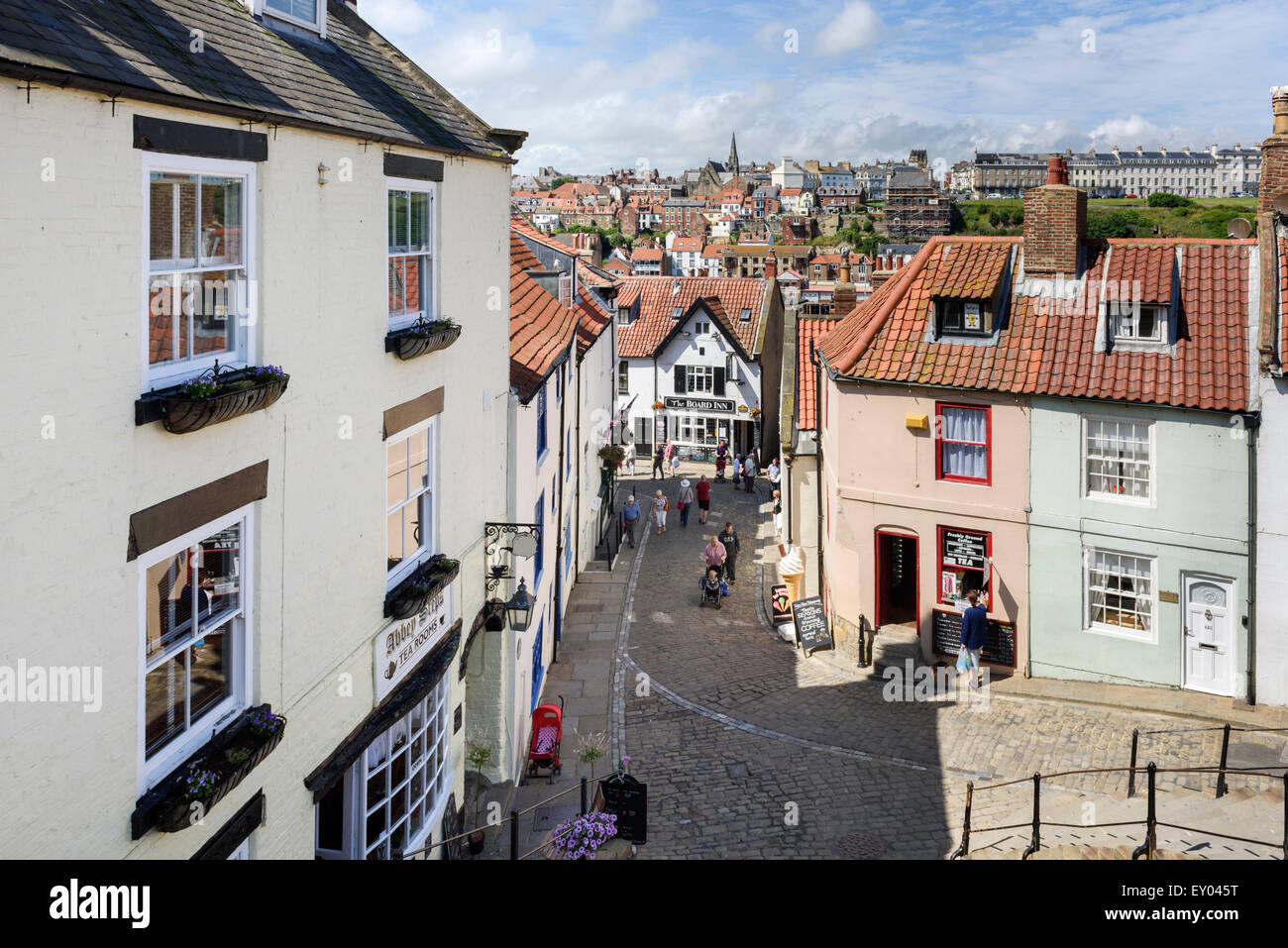 Looking Down Church Lane from the Abbey Steps Whitby - Stock Image
