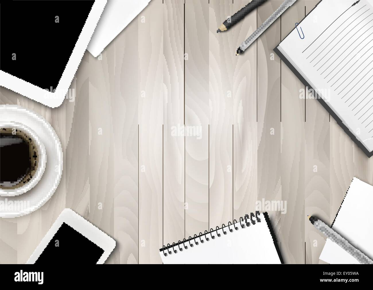 Office Workspace Background Coffee Tablet Notebooks And Paper