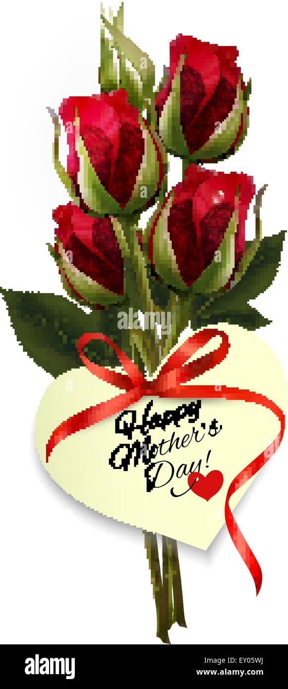 Red Roses With A Heart Shaped Happy Mother S Day Note And Red Ribbon