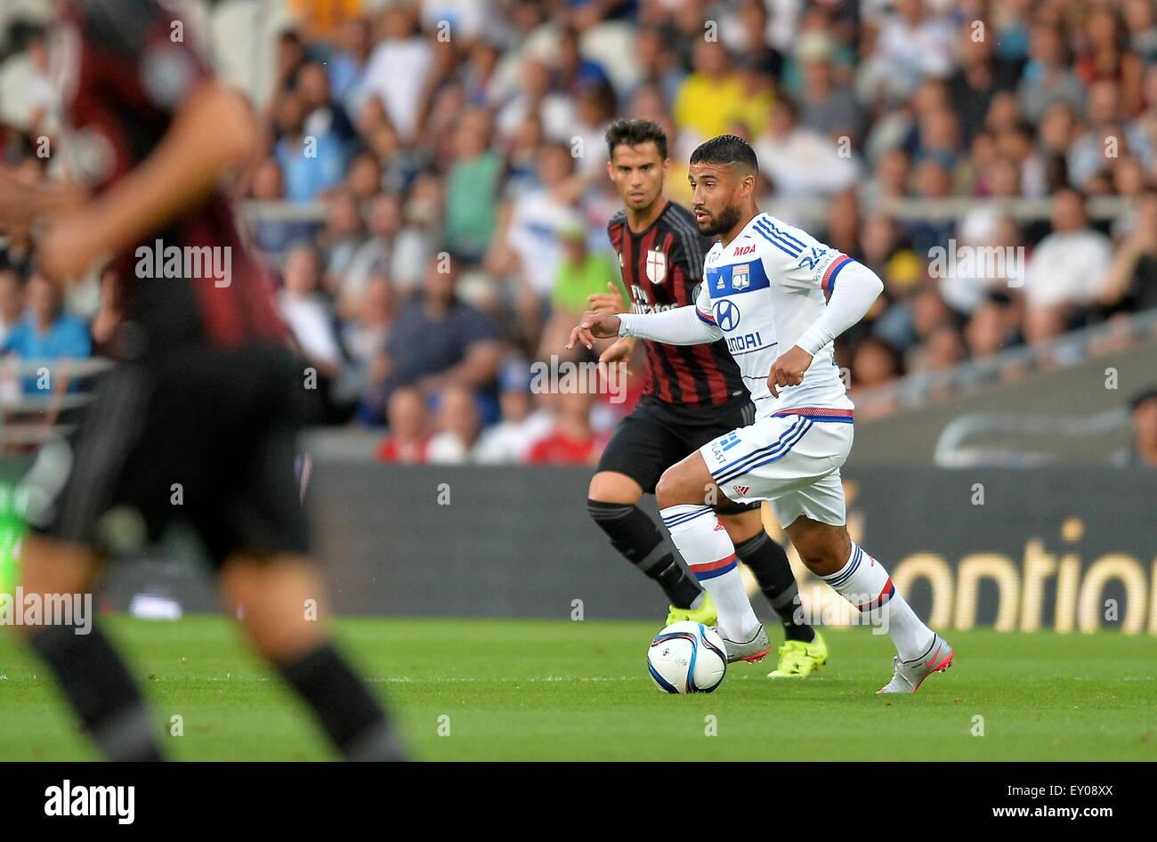 18.07.2015. stade de gerland, Lyon, France, Preseason football friendly, Lyon versus AC Milan. Nabil Fekir (ol) Stock Photo