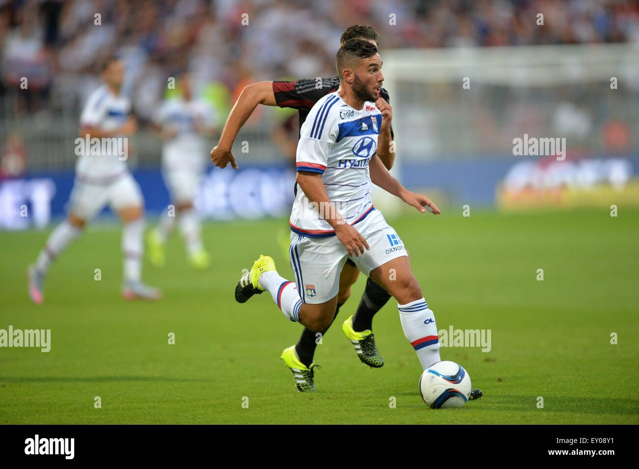18.07.2015. stade de gerland, Lyon, France, Preseason football friendly, Lyon versus AC Milan. Jordan Ferri (ol) Stock Photo
