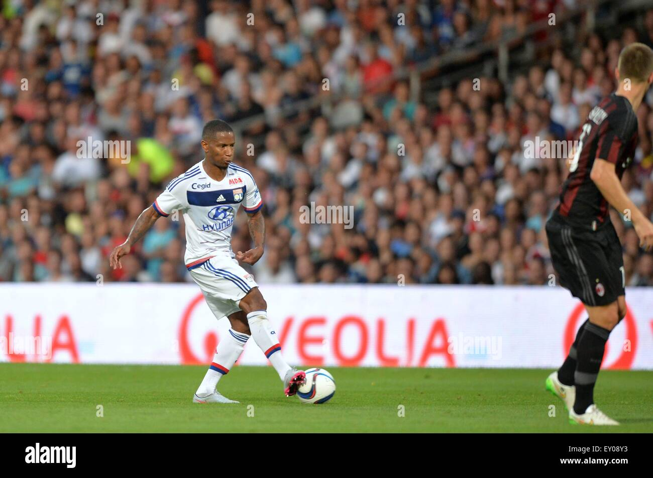 18.07.2015. stade de gerland, Lyon, France, Preseason football friendly, Lyon versus AC Milan. Claudio Beauvue (ol) Stock Photo