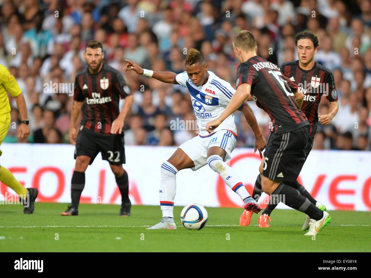 18.07.2015. stade de gerland, Lyon, France, Preseason football friendly, Lyon versus AC Milan. Clinton Njie (ol) Stock Photo