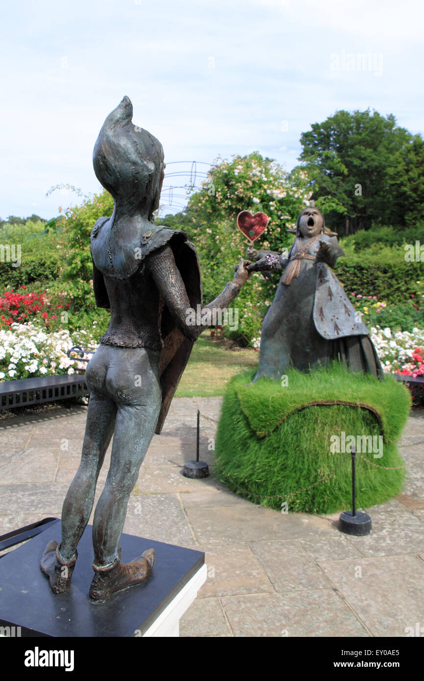 Knave and Red Queen sculptures, Royal Horticultural Society Adventures in Wonderland, RHS Garden Wisley, Woking, - Stock Image