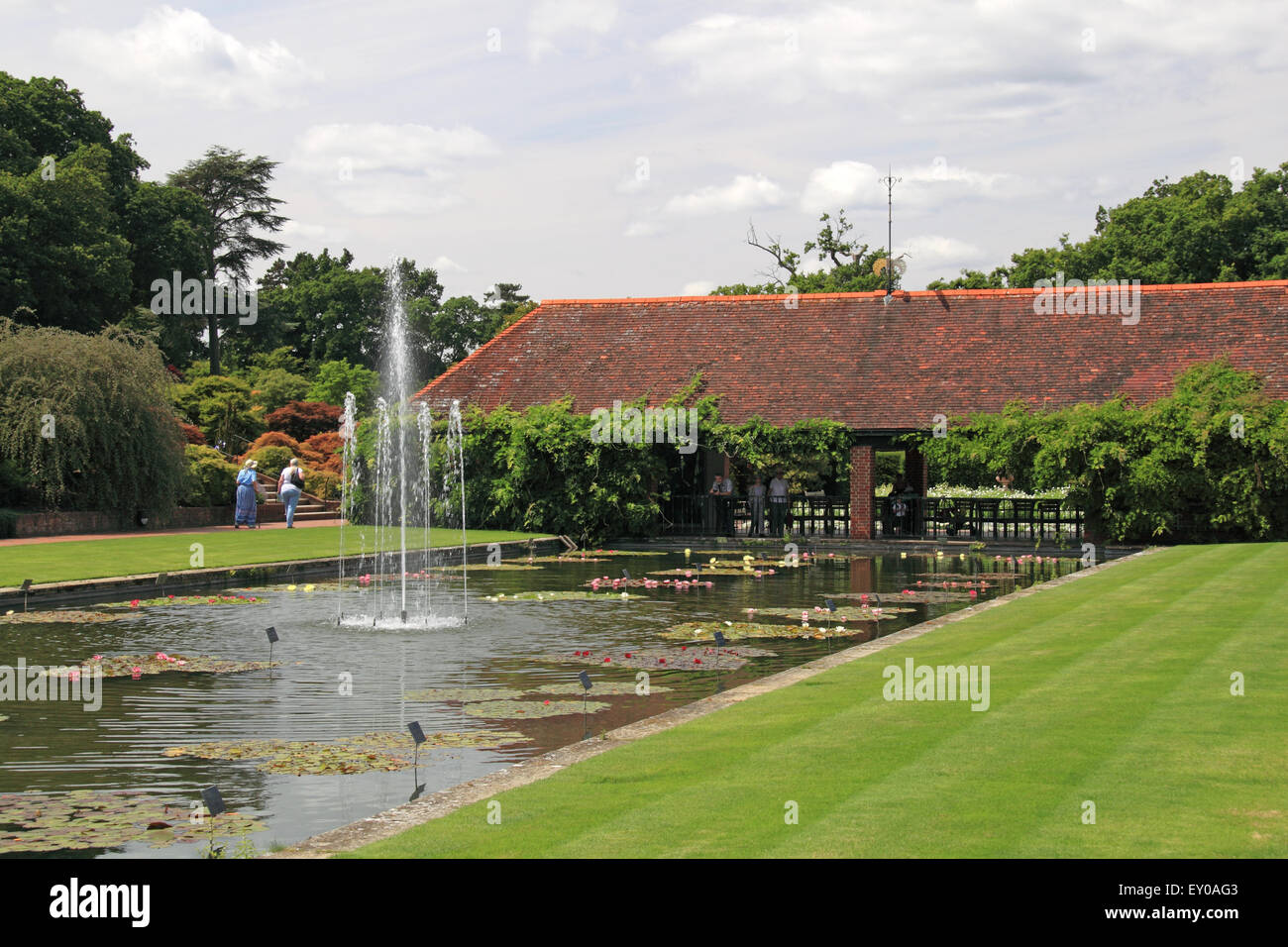 Canal and Water Lily Pavilion, Royal Horticultural Society Arts Fest, RHS Garden Wisley, Woking, Surrey, UK. 18th - Stock Image