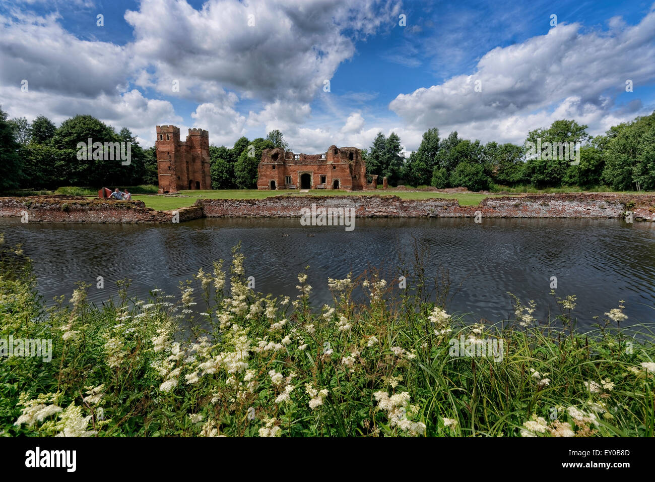 Kirby Muxloe Castle is an unfinished moated 15th century fortified manor house in Kirby Muxloe, Leicestershire, - Stock Image