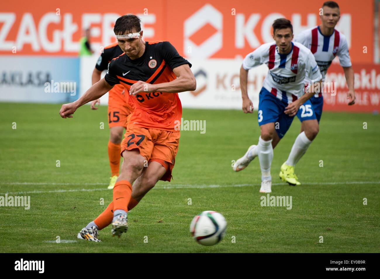 Lubin, Poland. 18th July, 2015, Michal Papadopulos shot penalty kick during match Polish Premier League betwen KGHM - Stock Image