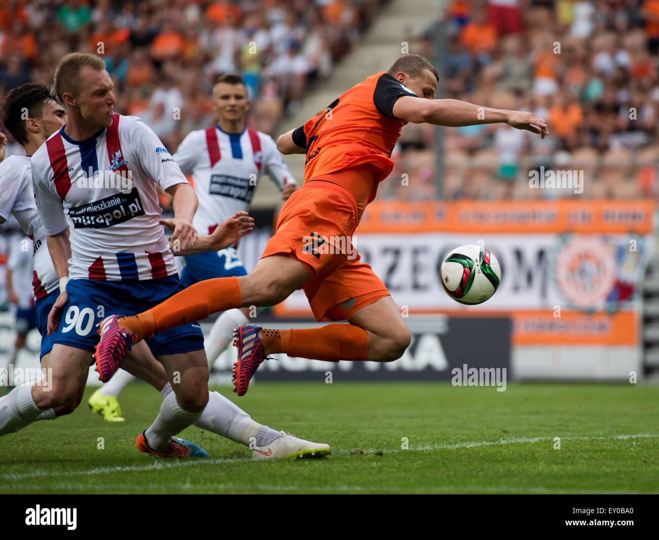 Lubin, Poland. 18th July, 2015, Maciej Dabrowski (2) in action during match Polish Premier League betwen KGHM Zaglebie - Stock Image