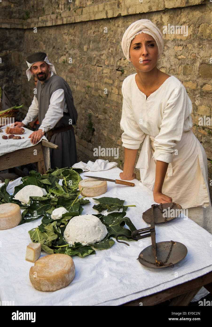Annual medieval festival of the Mercato delle Gaite, Bevagna, Umbria - Stock Image