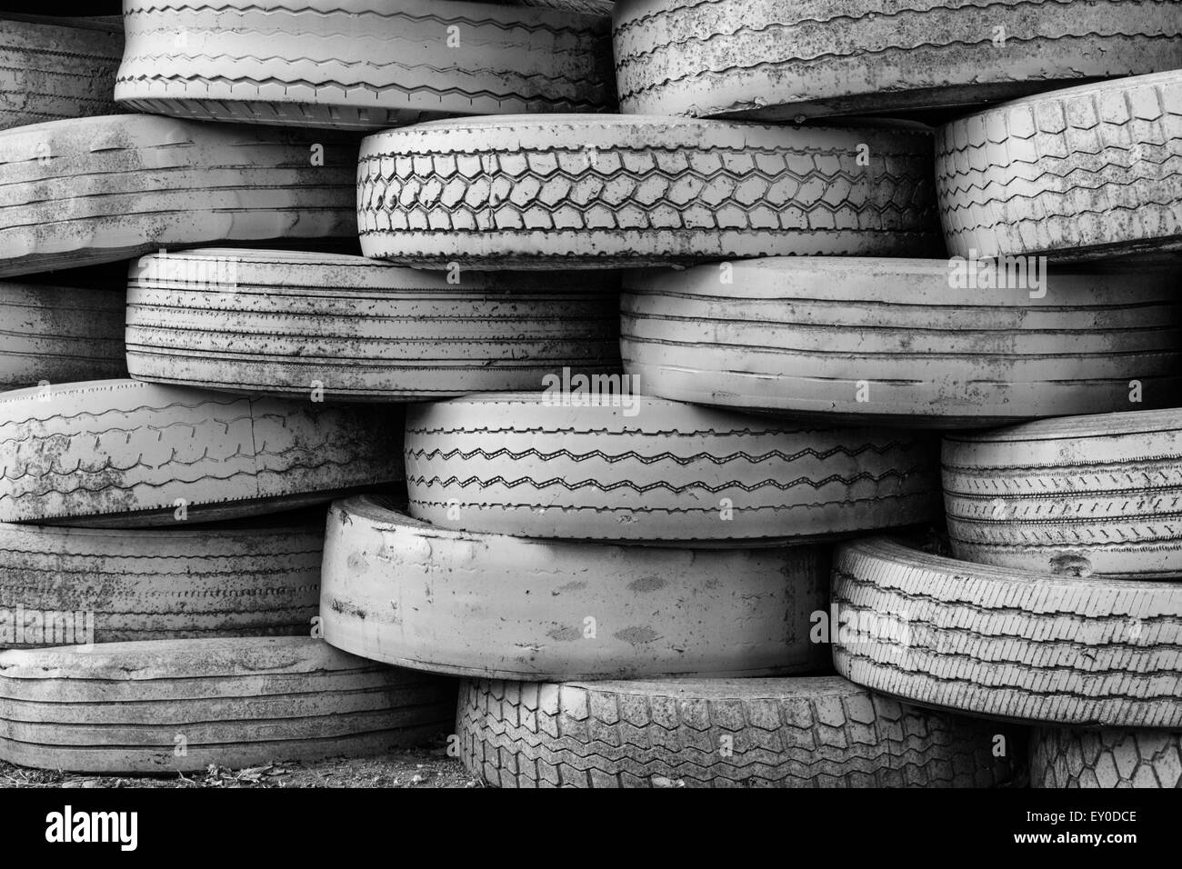 Old tires stacked - Stock Image