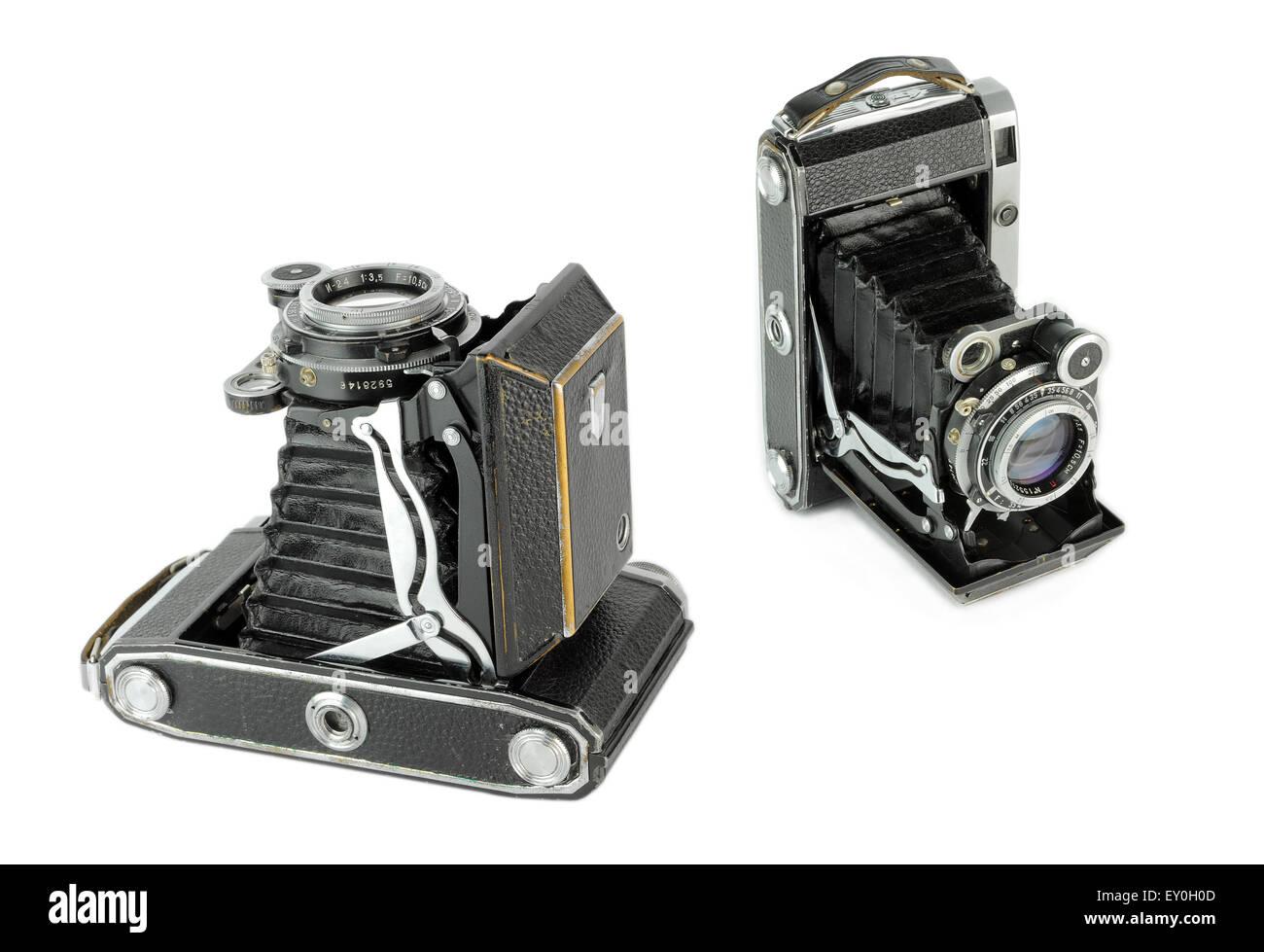 Very old Medium format portable vintage folding film camera - Stock Image