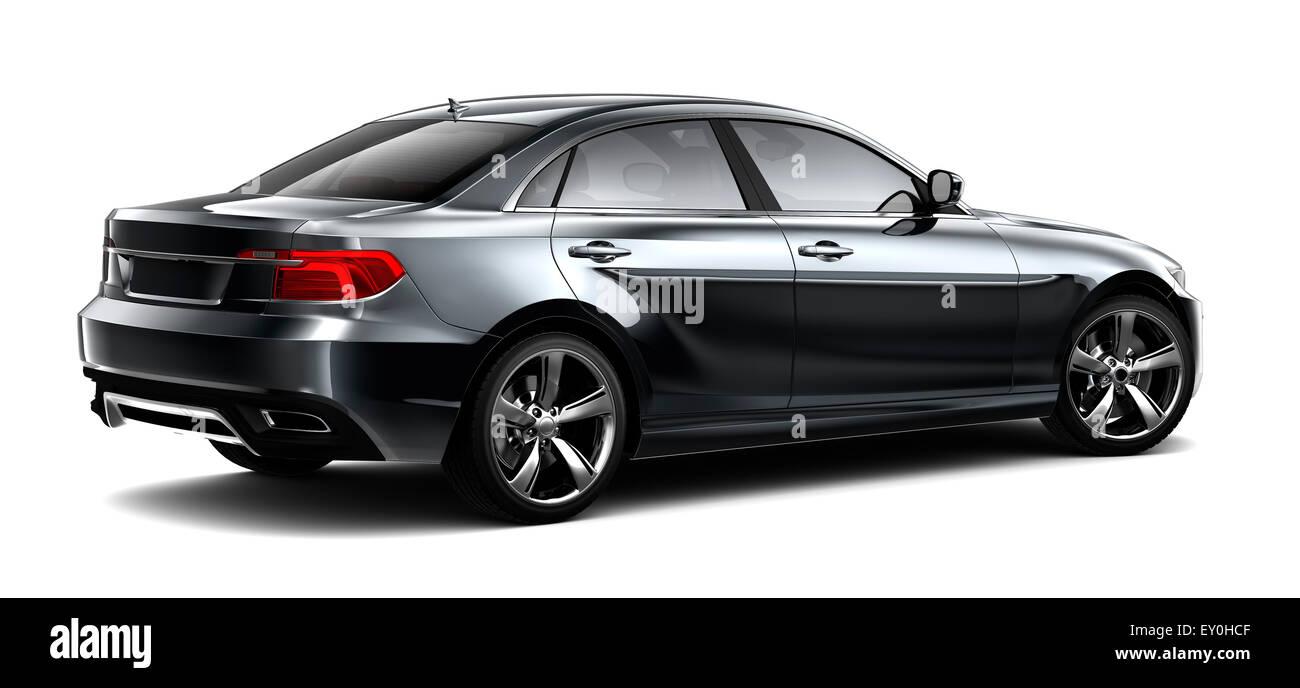 Black sedan car - rear view - Stock Image