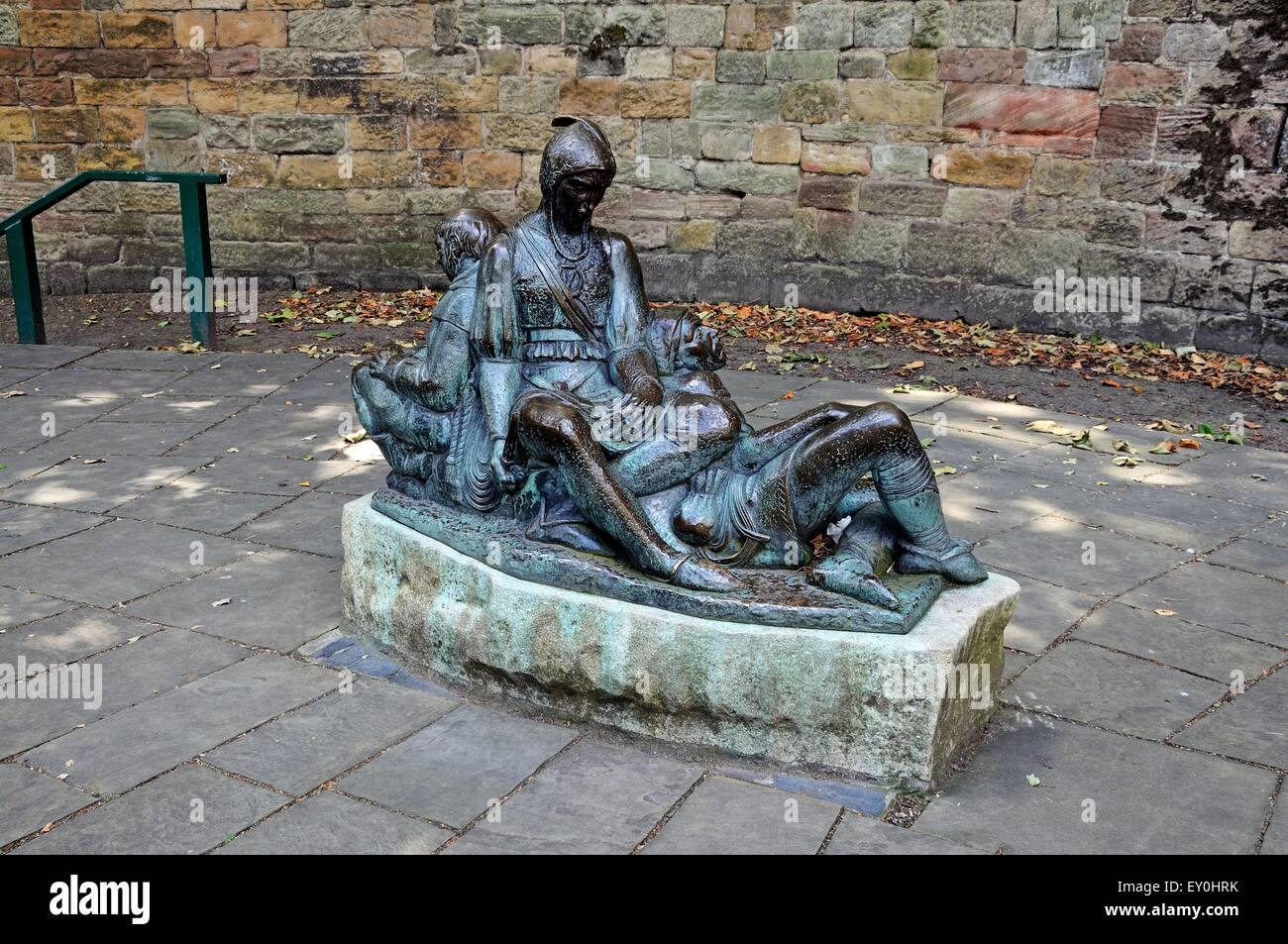 Robin Hood related bronze statue of Friar Tuck, Will Scarlet and Little John outside the castle, Nottingham, England, - Stock Image