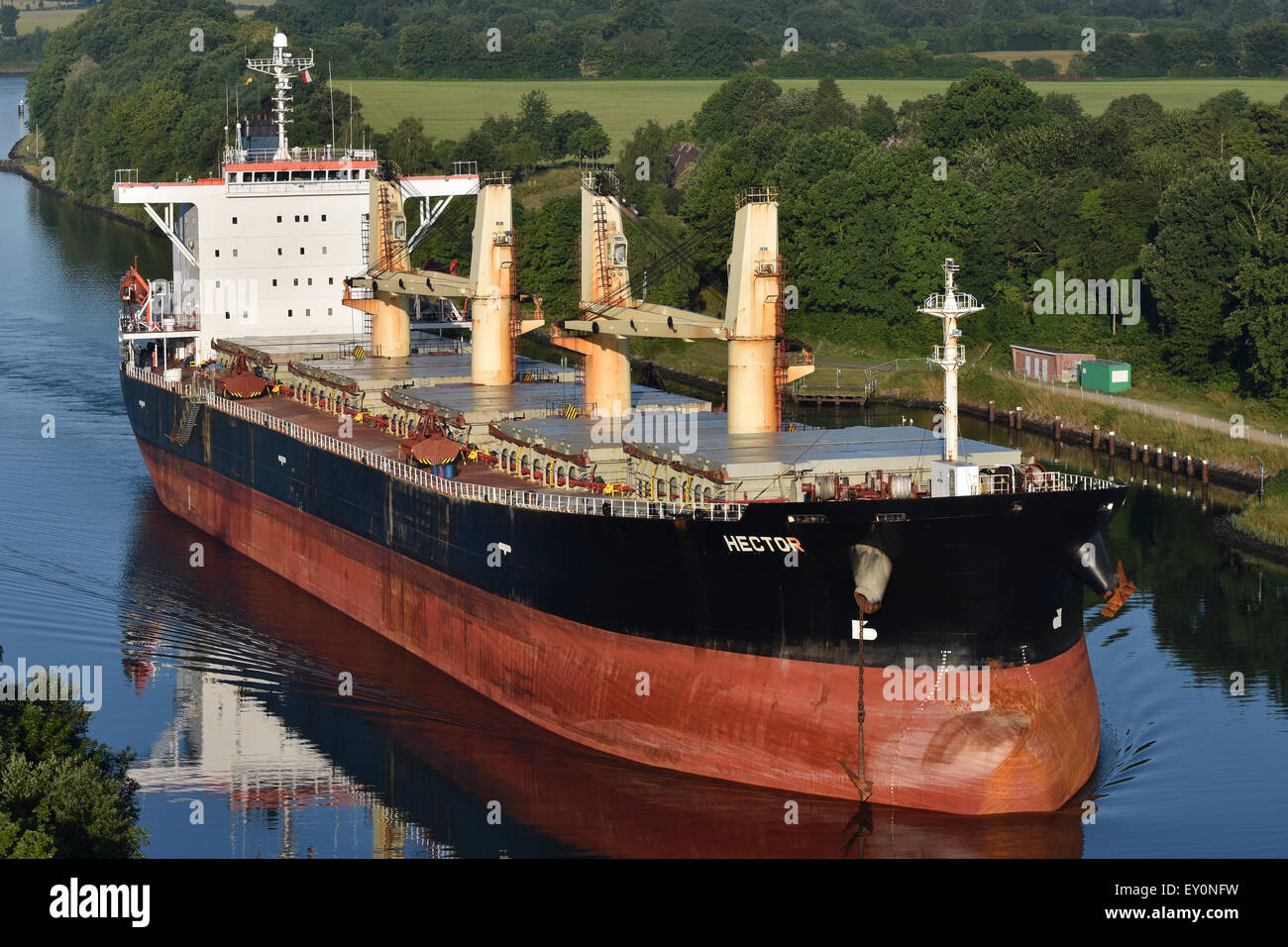Supramax Bulkcarrier Hector passing the Kiel Canal - Stock Image