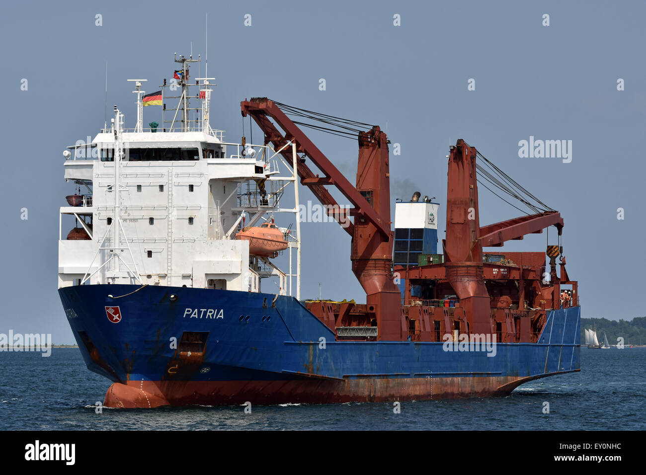 RoRo Cargo Ship Patria inbound for the Holtenau-Locks of Kiel-Canal - Stock Image