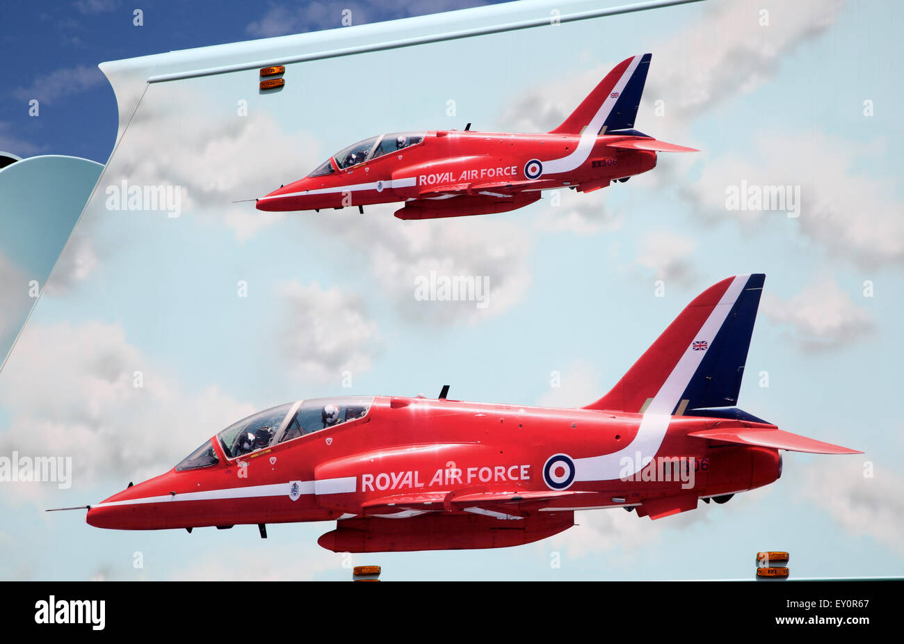Royal Air Force red arrows display team vehicle at air show, Swansea, West Glamorgan, South Wales, UK Stock Photo