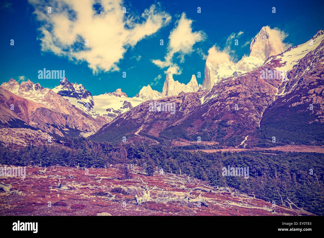 Vintage toned Fitz Roy Mountain Range, Argentina. - Stock Image
