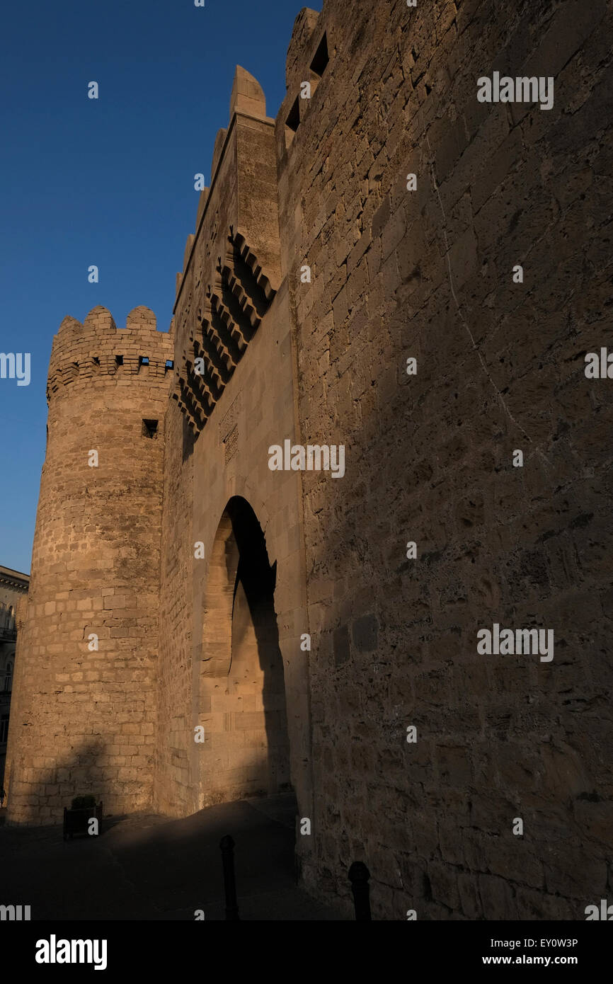 Ancient walls in Icheri Sheher which is the historical core of Baku listed in UNESCO World Heritage Site list in - Stock Image