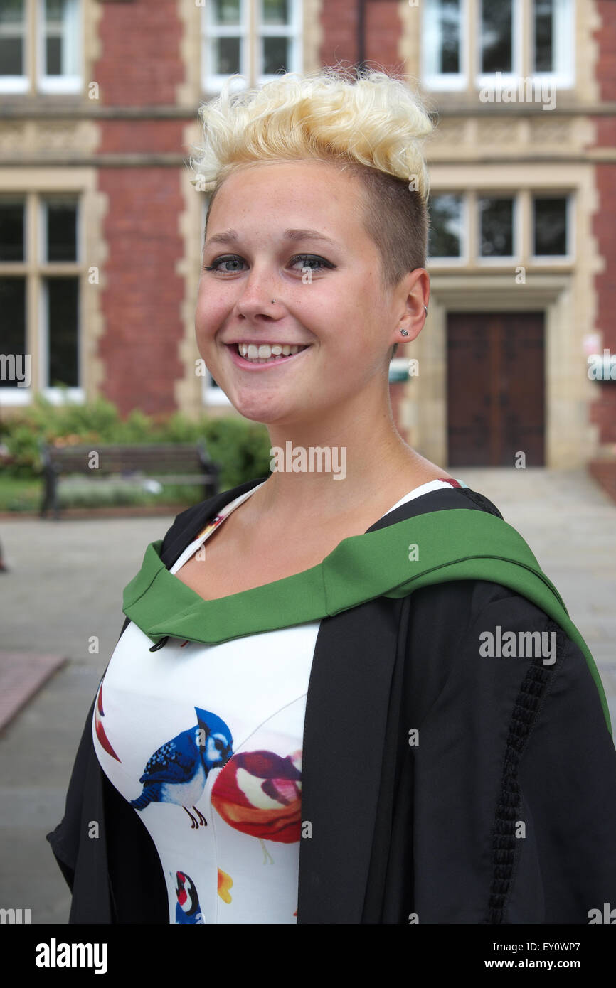 Graduation Day for young female student graduate at University of Leeds in July 2015 - Stock Image