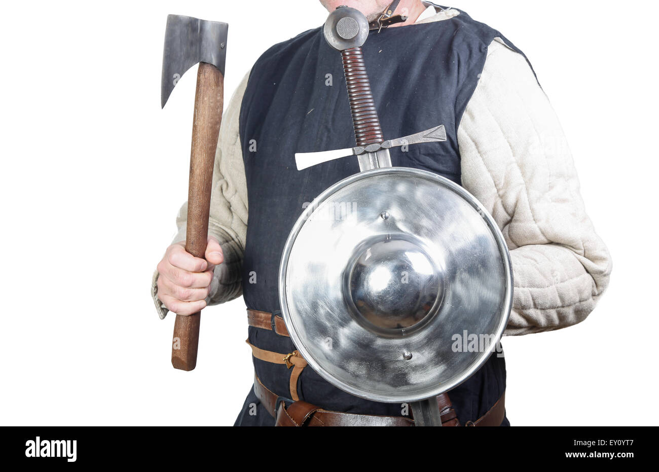 Man in medieval soldier clothing - Stock Image