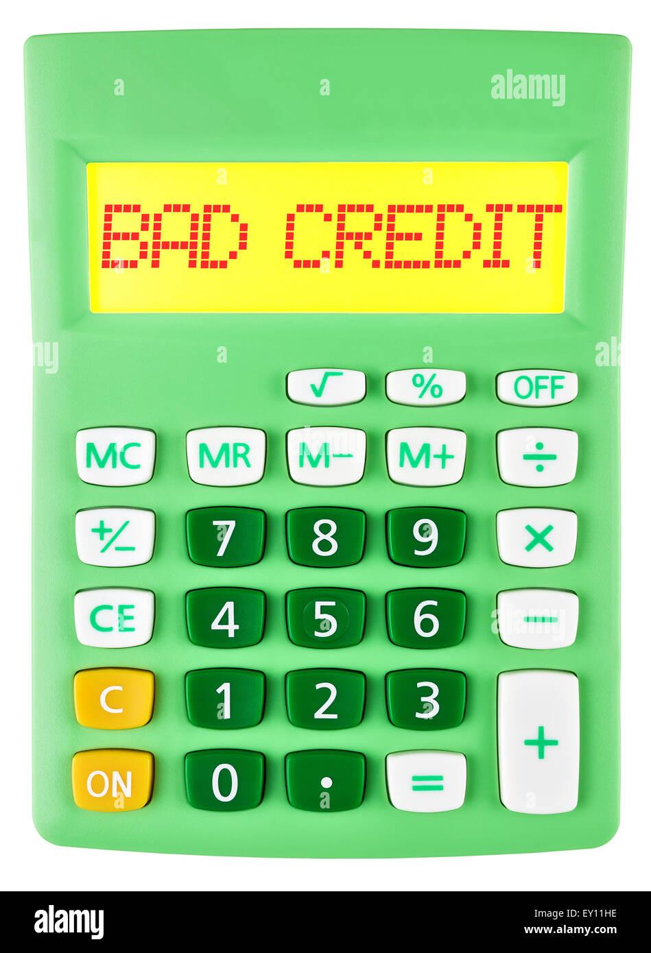 Calculator with BAD CREDIT on display Stock Photo