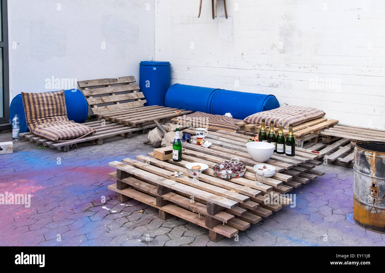 Braunschweig brunswick germany outdoor furniture made from reclaimed recycled materials wooden palettes and old drums