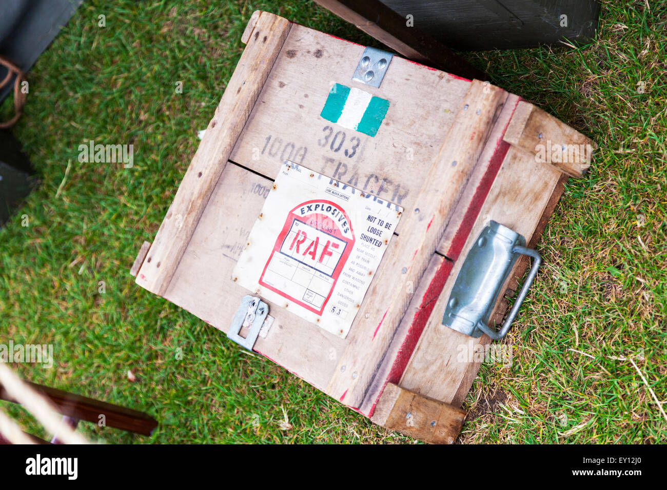 RAF explosives explosive tracer wooden box Credit:  Tommy  (Louth)/Alamy Live News - Stock Image