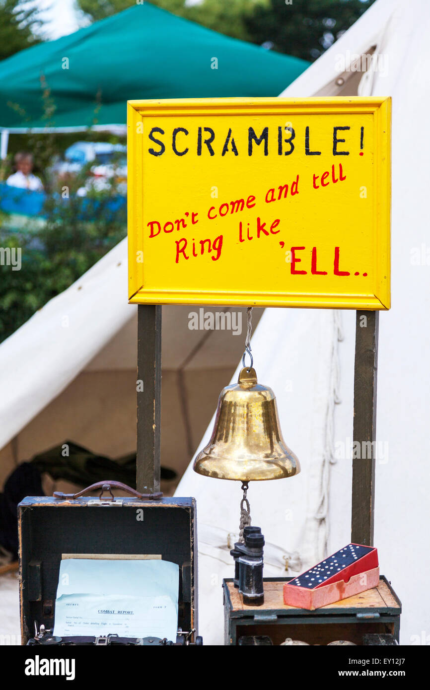 air raid bell WW2 scramble warning war wartime protection Credit:  Tommy  (Louth)/Alamy Live News Stock Photo