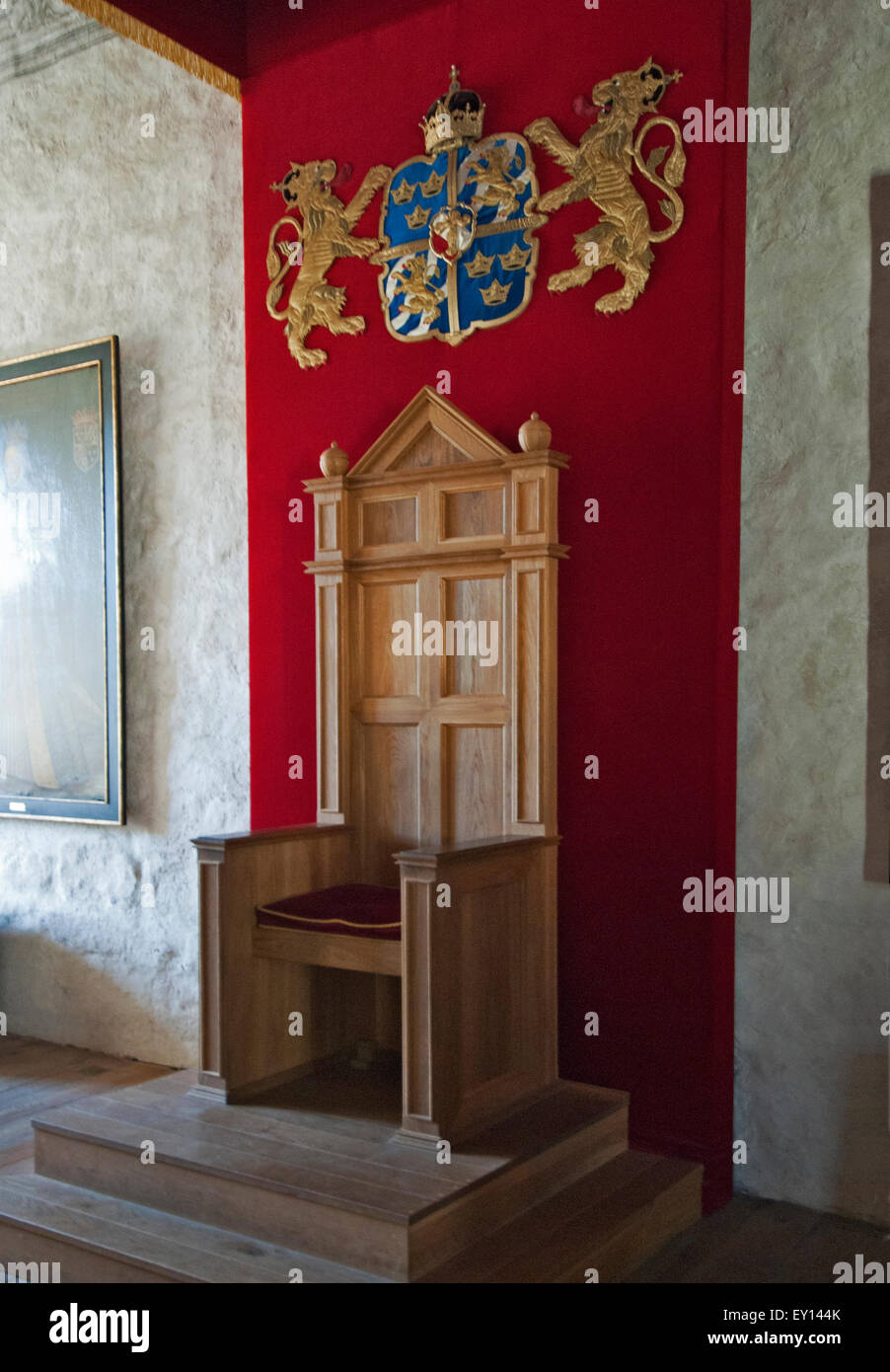 Throne in Kalmar Castle - Stock Image
