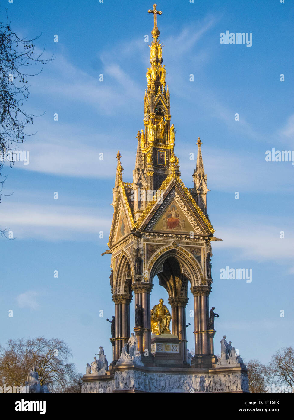 Albert Memorial, London. Commissioned by Queen Victoria in memory of her beloved husband. - Stock Image