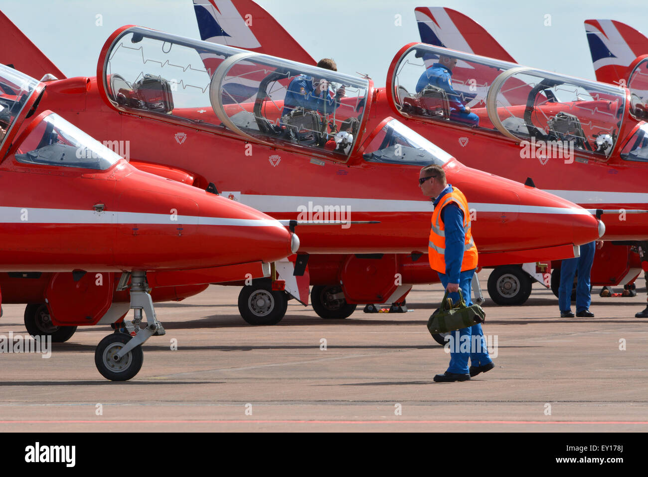Red Arrows Pilots and Ground Crew Stock Photo