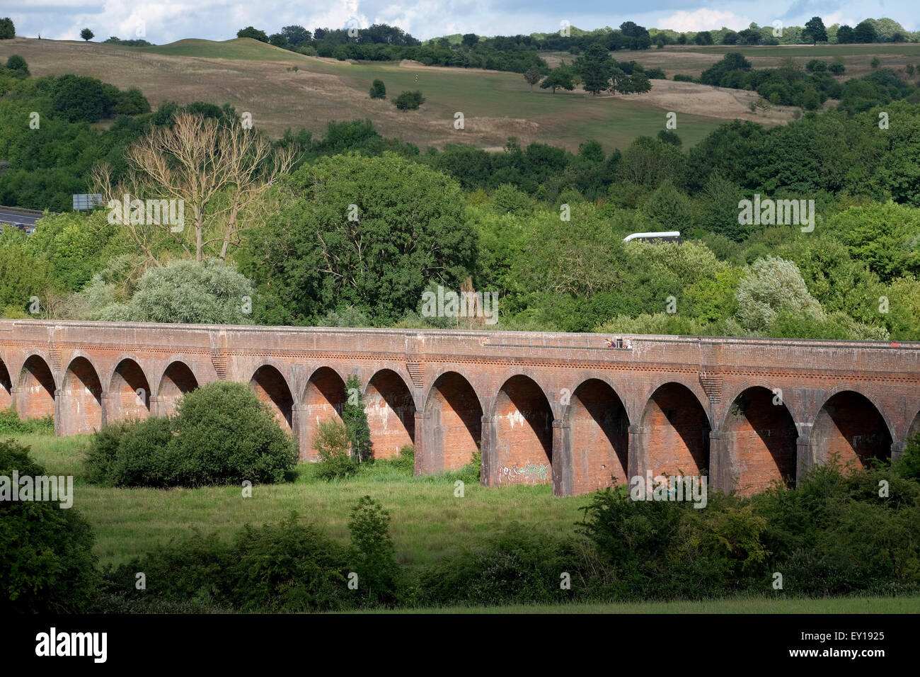 Hockley Viaduct in Winchester that has been restored and turned into a footpath and cycle way called the Viaduct - Stock Image