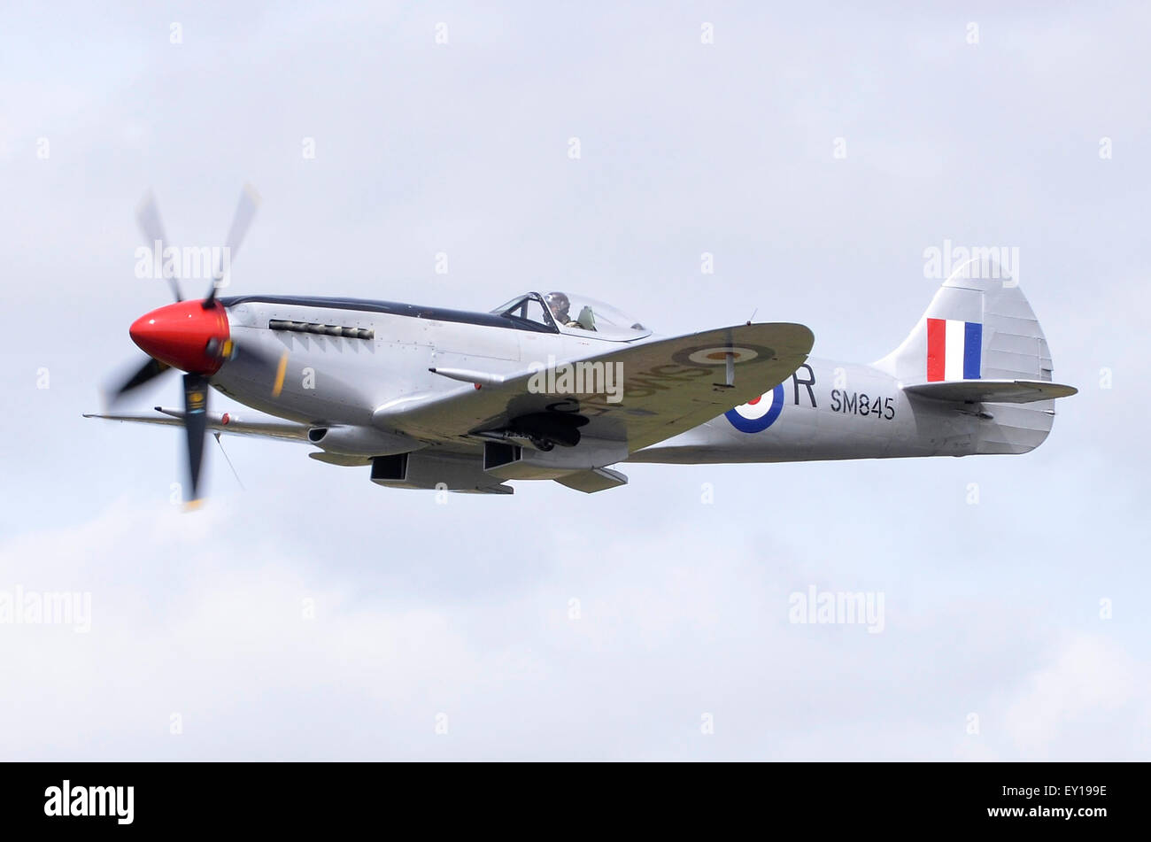 Spitfire Mk XVIII plane in RAF markings displaying in RIAT 2015's Battle of Britain 75th Anniversary flypasts, Fairford, Stock Photo