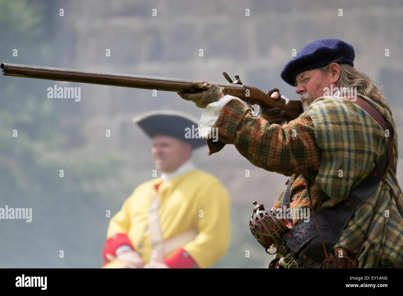 Hoghton Towers, Chorley, Lancashire, UK.19th July, 2015.   The Battle of Preston – the last battle on English soil. Stock Photo
