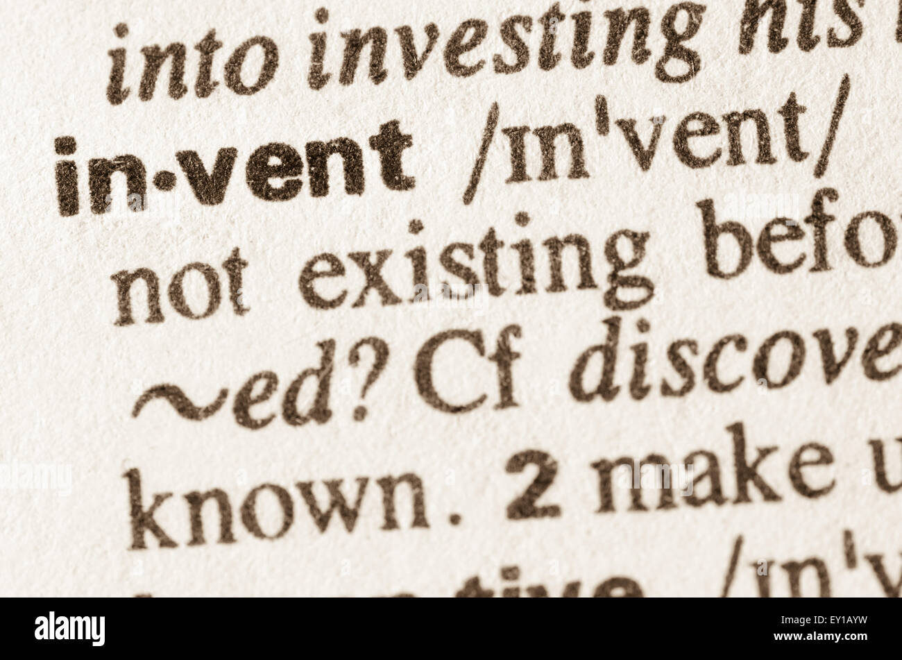 Definition of word invent in dictionary - Stock Image