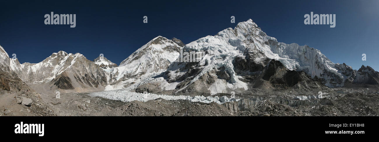 Mount Everest (8,848 m) and the Khumbu Glacier from the Everest Base Camp (5,364 m) in Khumbu region, Himalayas, - Stock Image
