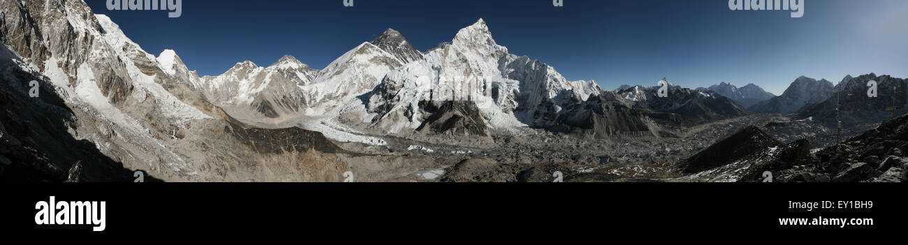 Mount Everest (8,848 m) and the Khumbu Glacier from the summit of Kala Patthar (5,644 m) in Khumbu region, Himalayas, - Stock Image