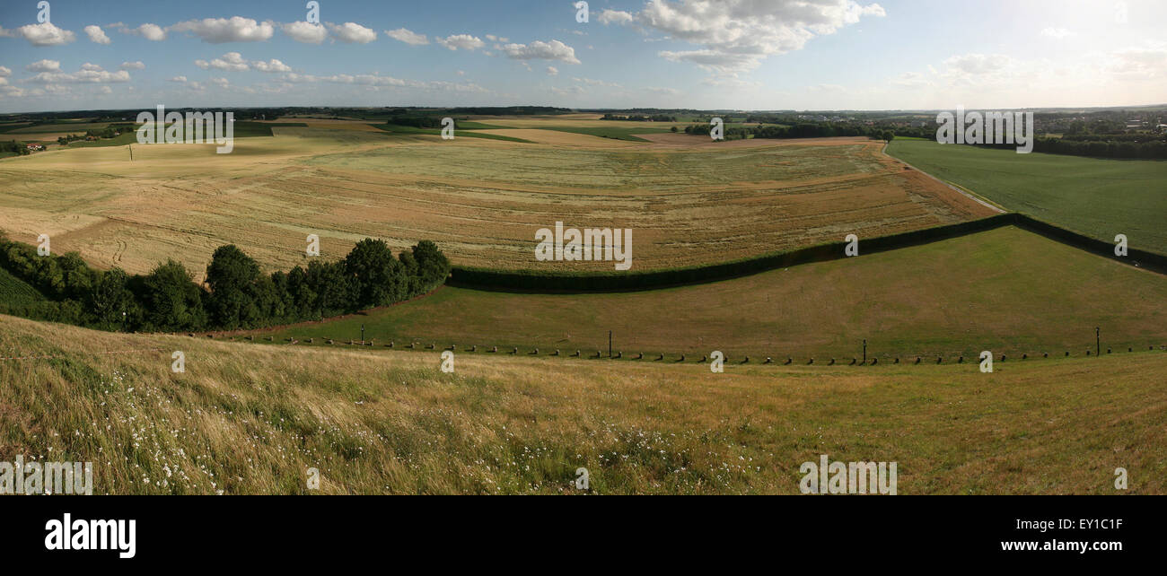 Battlefield of the Battle of Waterloo (1815) near Brussels, Belgium. Panorama from the top of the Lion's Mound. - Stock Image