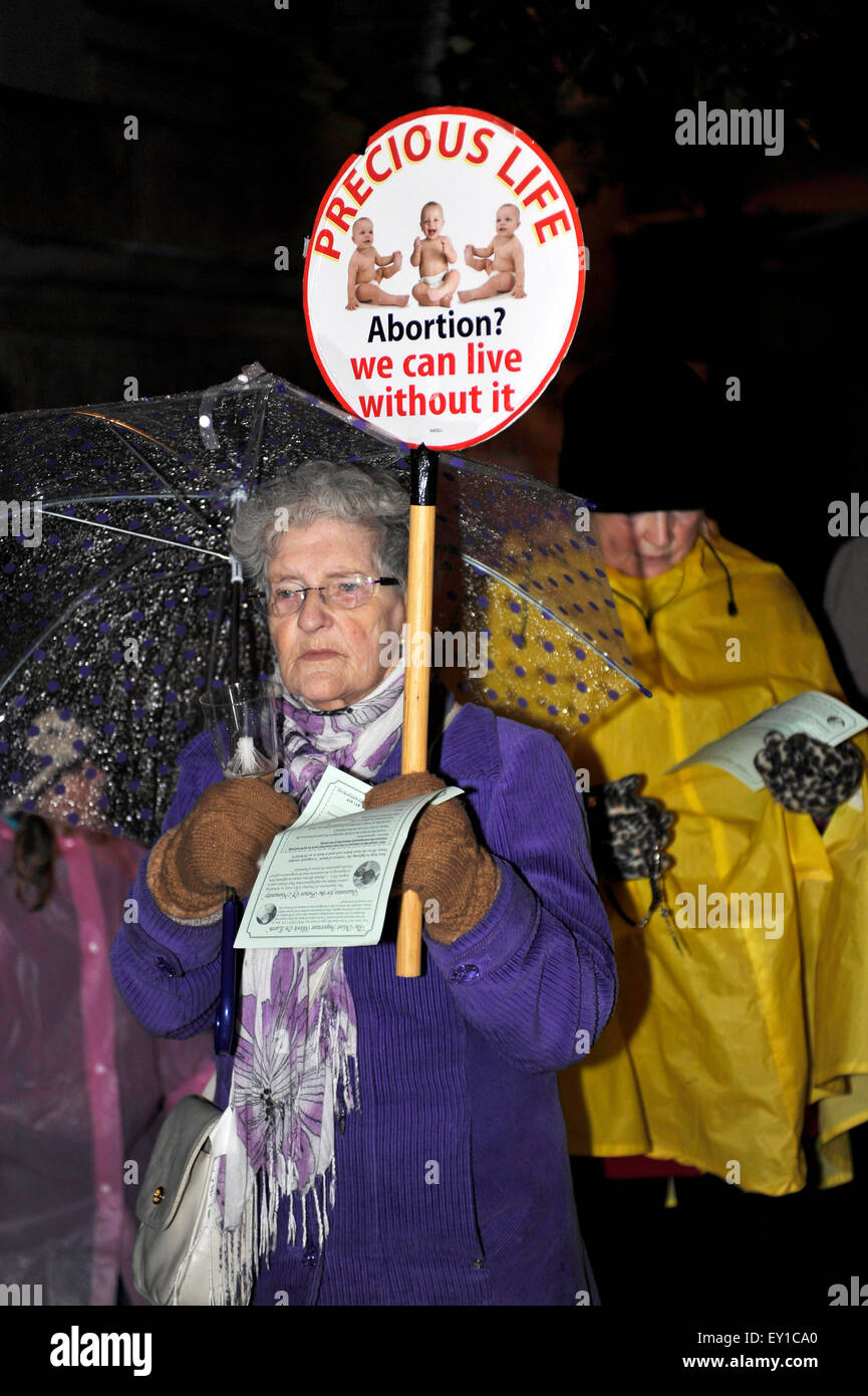Woman attending a  Pro- Life group Precious Life candle light procession in Londonderry (Derry). - Stock Image