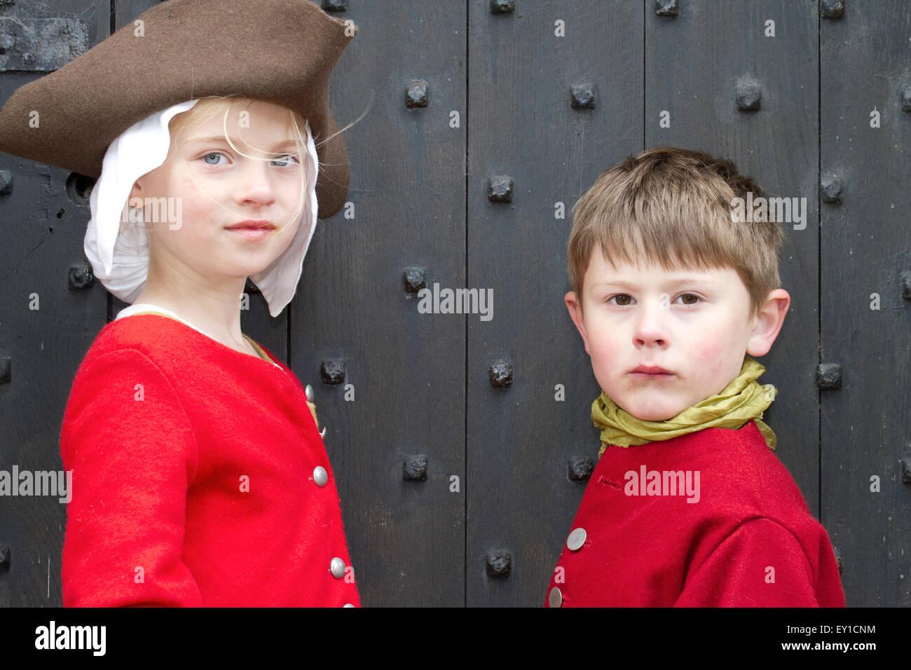 Hoghton Towers, Chorley, Lancashire, UK.19th July, 2015.   Maddie Richardson aged 9 & Freddie Le Pinnet aged 6 at Stock Photo